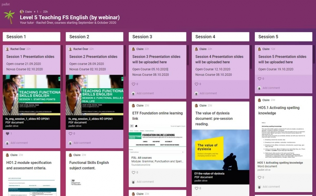 Level 5 Teaching Functional Skills English Padlet