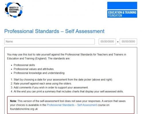 ETF Professional Standards self-assessment Tool