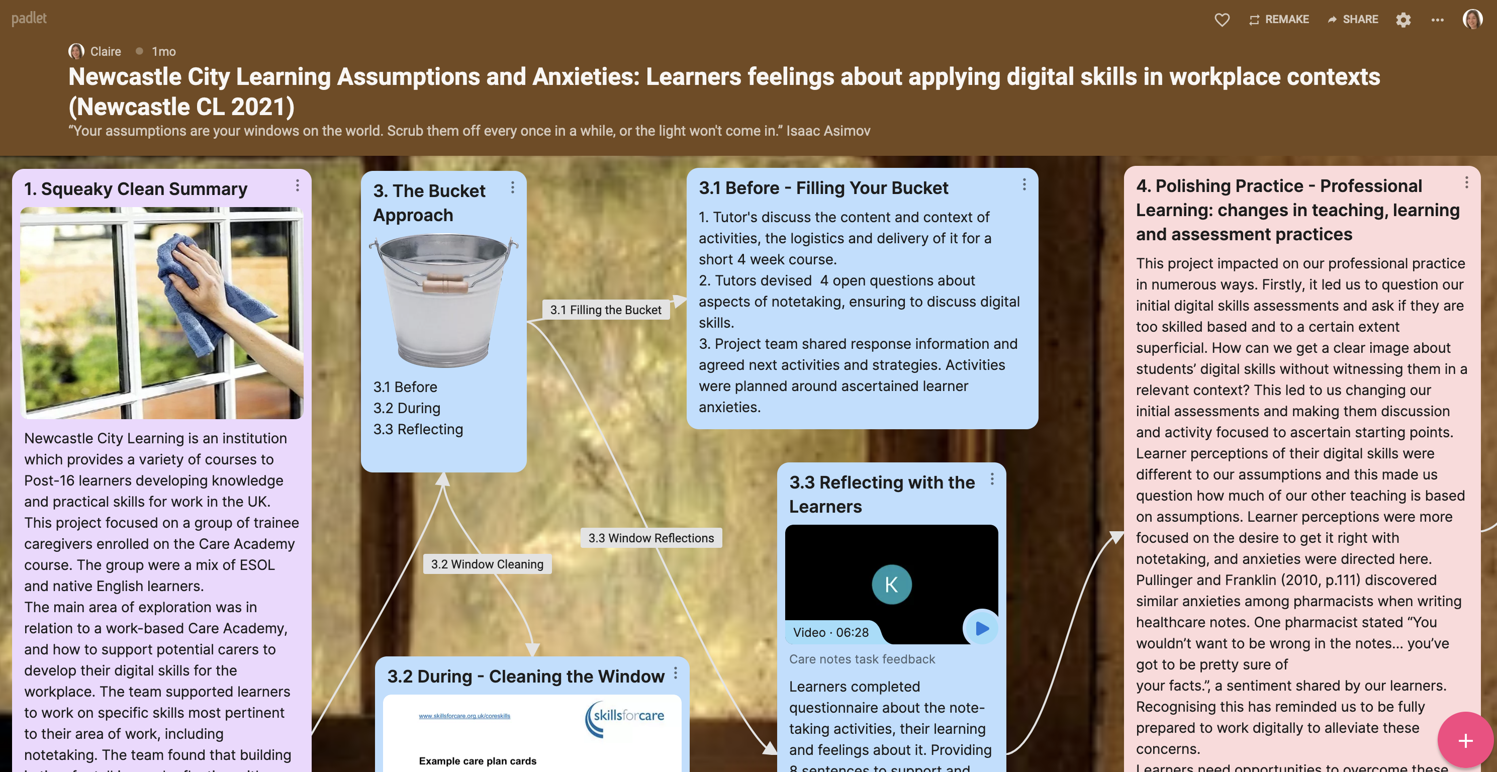 Screenshot of NCLs Padlet. See appendices to access